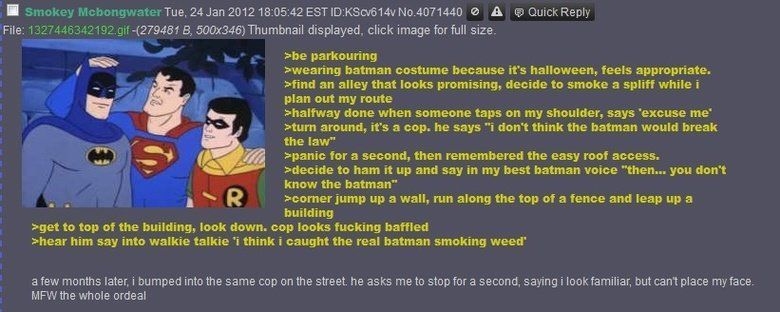 Batman smoking some weed.