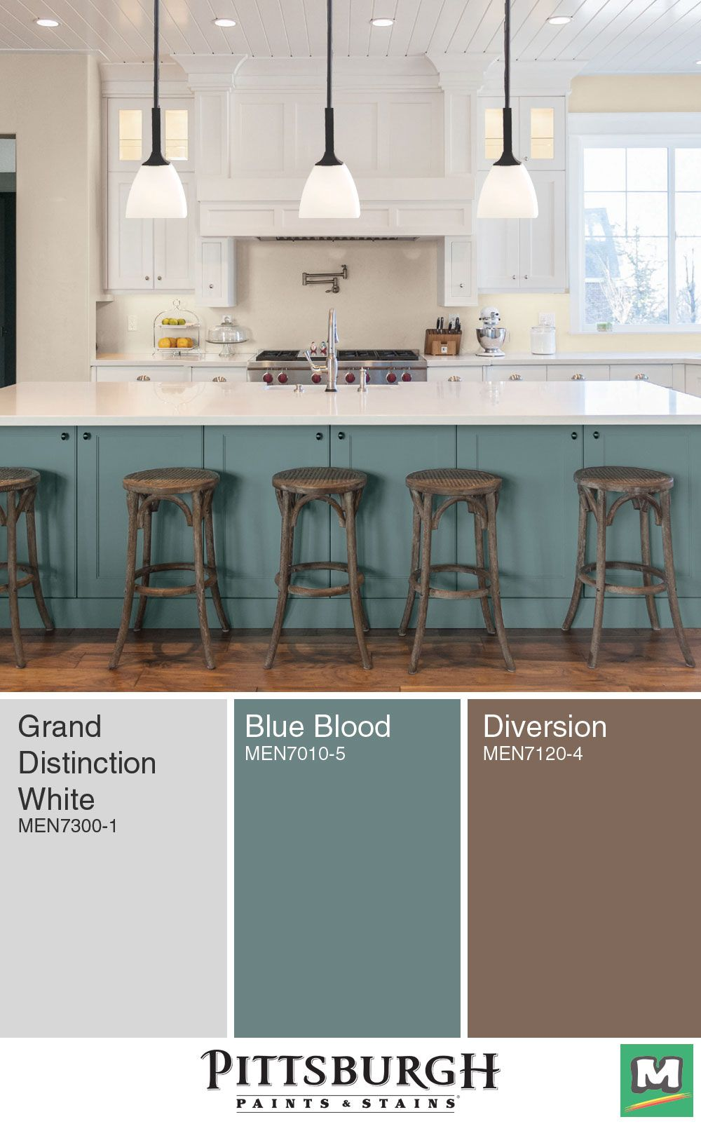 Create A Modern Farmhouse Kitchen With This Color Palette From Pittsburgh Paint Farmhouse Kitchen Colors Colorful Kitchen Decor Painted Kitchen Cabinets Colors