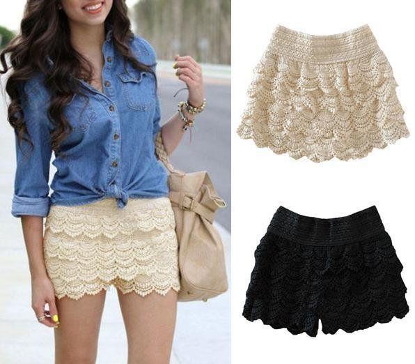 Fashion Girl Women Cute Crochet Tiered Lace Shorts Skirt Pants Beige//Black