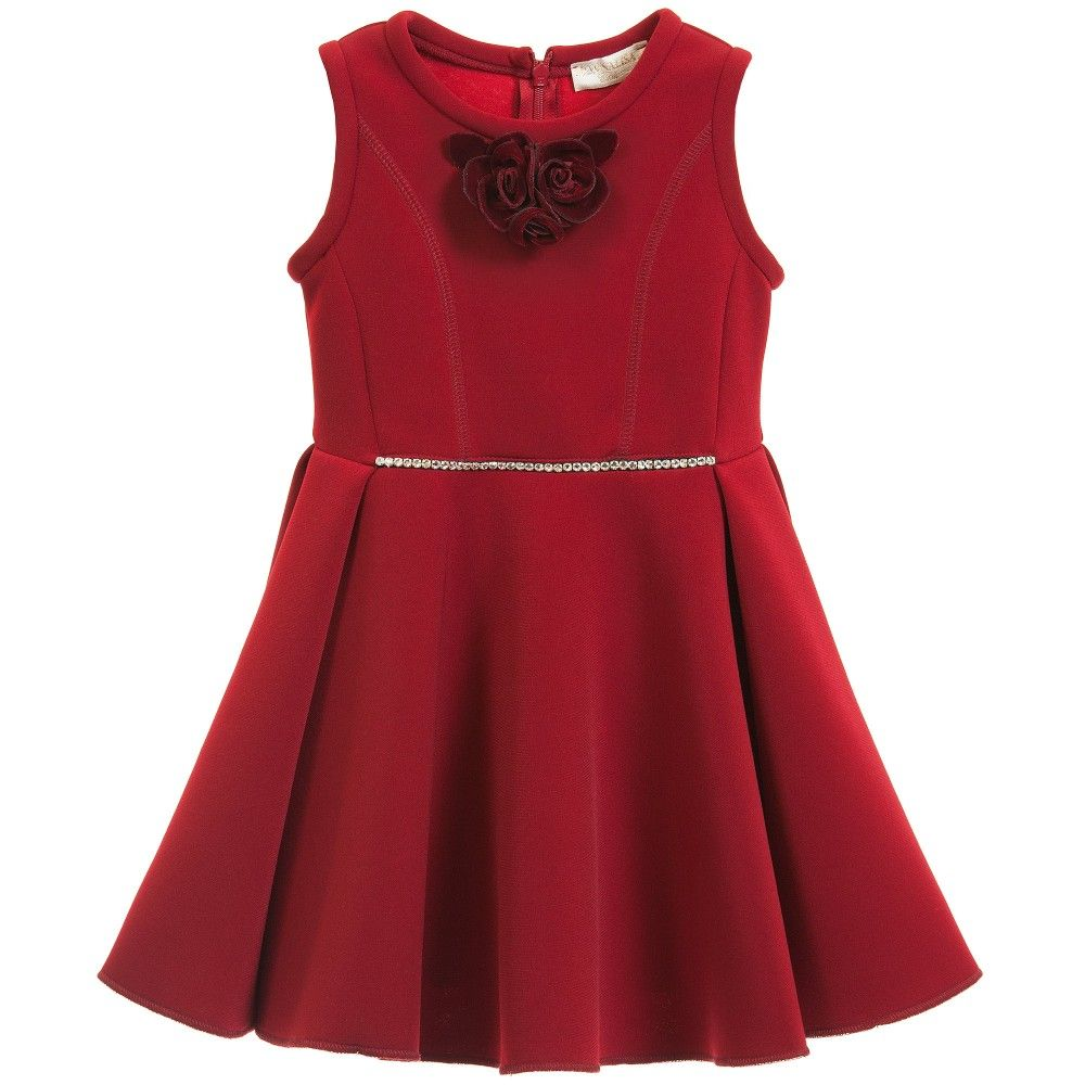 Monnalisa Chic, girlselegant red sleeveless dress made in soft neoprene. A fitted bodice, with tuck pleating on the side of the flared skirt,a row of beautiful diamanté across the frontand a concealed zip fastener on the back. It comes with a detachable rose corsage style brooch with a pin fastener, allowing you to choose where to place it on the dress.<br /> <ul> <li>96% polyester, 4% elastane (soft neoprene feel)</li> <li>Machine wash (30*C)</li> <li>Unlined</li> <l...