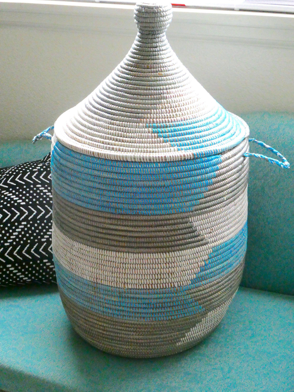 Medium Blue Gray And White Chevron Basket Laundry Basket Sturdy