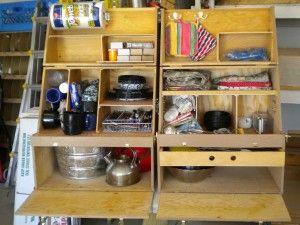 Camp kitchen, Chuck box, Field kitchen, what do YOU call it | Camp on motor coach outdoor kitchen, camper leveling jacks, trailer kitchen, rv kitchen, small camper kitchen,