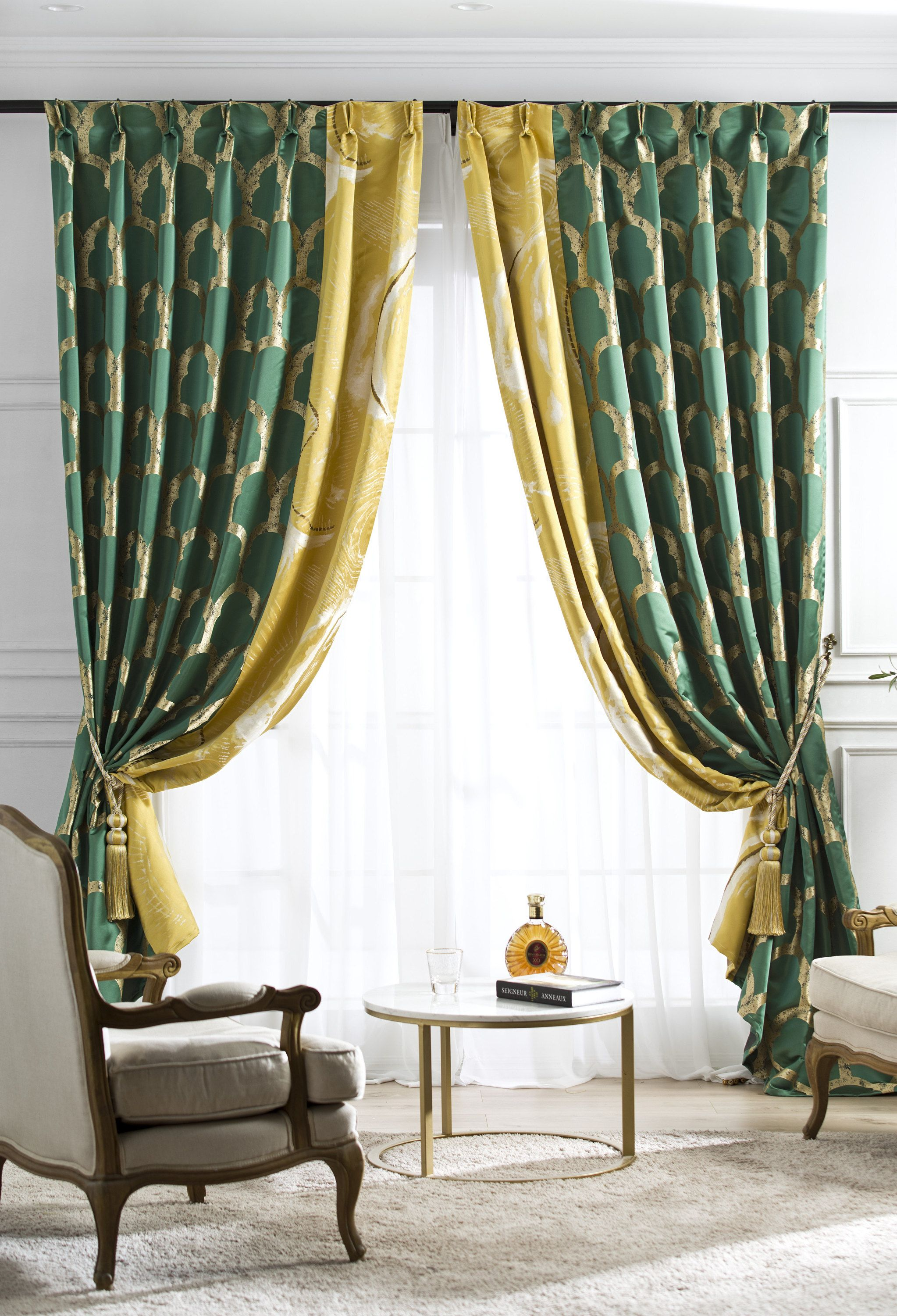Curtain Drape For Living Room Emerald Green And Yellow Mustard