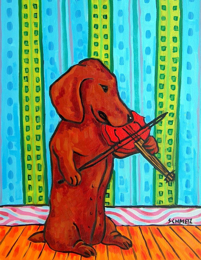 Dachshund dog 8x10  art PRINT skate boarding animals impressionism