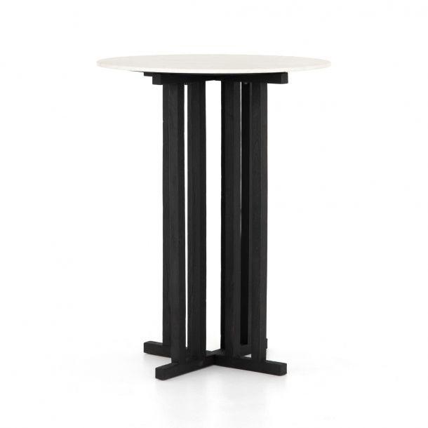 """19.5/"""" Square Bar Table Espresso Painted Tempered Glass and Chrome Base Finish"""