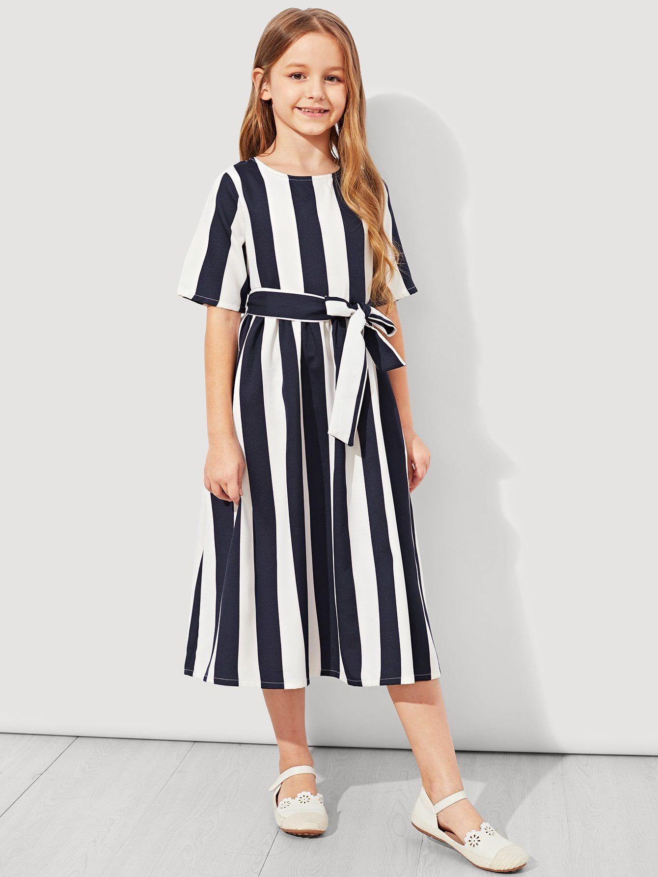 Girls Tie Waist Striped Dress Tie Girls Waist Kids Dress Striped Casual Dresses Casual Dresses [ 1785 x 1340 Pixel ]