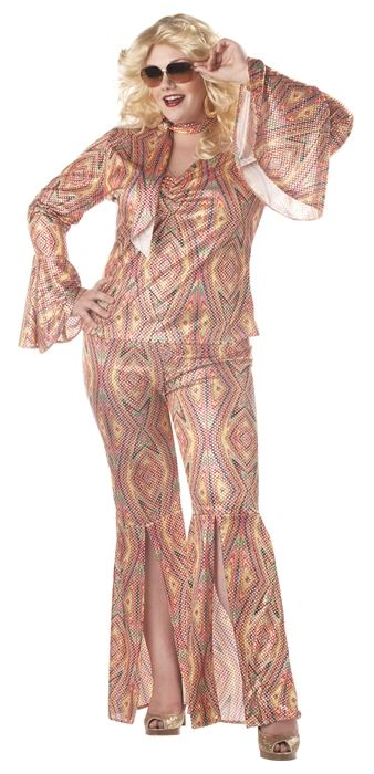 1fec201d9455 Discolicious Plus Size Glam Disco Costume - Grab this polyester pantsuit  and sparkle all night on the dance floor. This discolicious plus size  ladies suit ...
