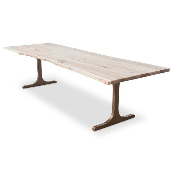 Sensational Eco Solid Bleached Walnut Slab Dining Table Modshop In Creativecarmelina Interior Chair Design Creativecarmelinacom