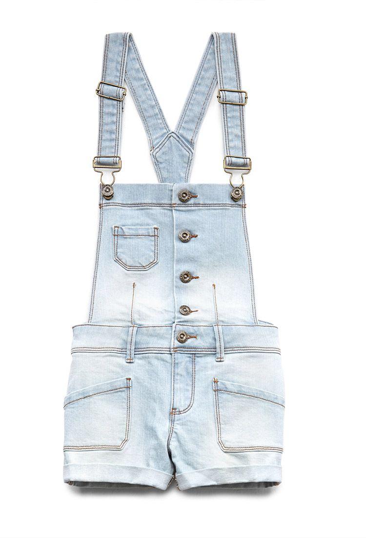 90ecf2c32 Cuffed Overall Shorts (Kids) | FOREVER21 girls -#TrendingNow overalls!  #F21Girls #Denim