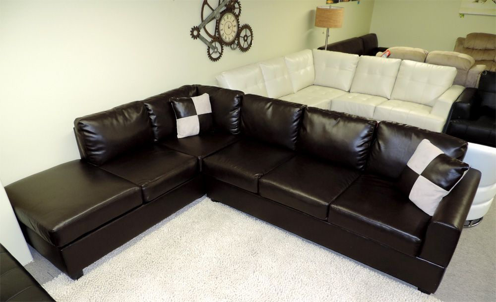 Our Sacramento Leather Sectional Looks Good From Any Angle Available In Black Espresso And Cream Includes A Storage Ottoman For Just 999 On