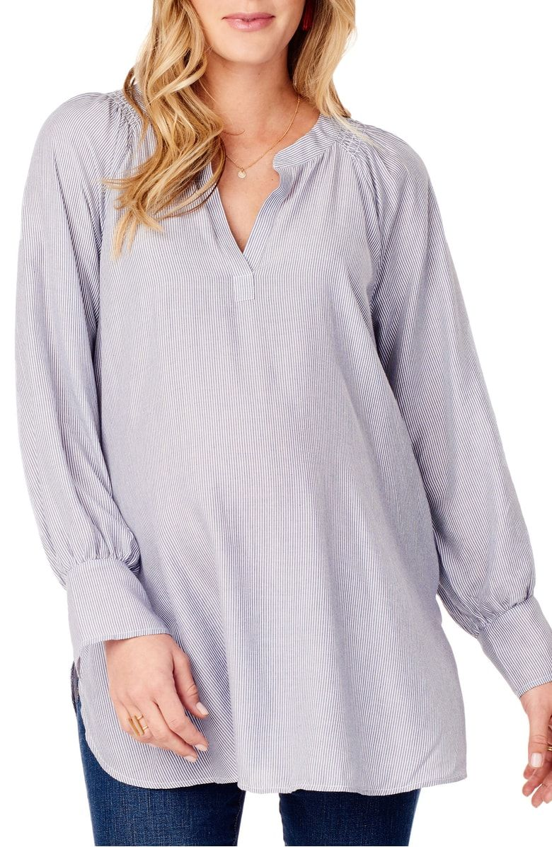 98791a1ad07 Free shipping and returns on Ingrid   Isabel® Split Neck Maternity Blouse  at Nordstrom.com. This lightweight blouse keeps you comfortable and  on-trend ...