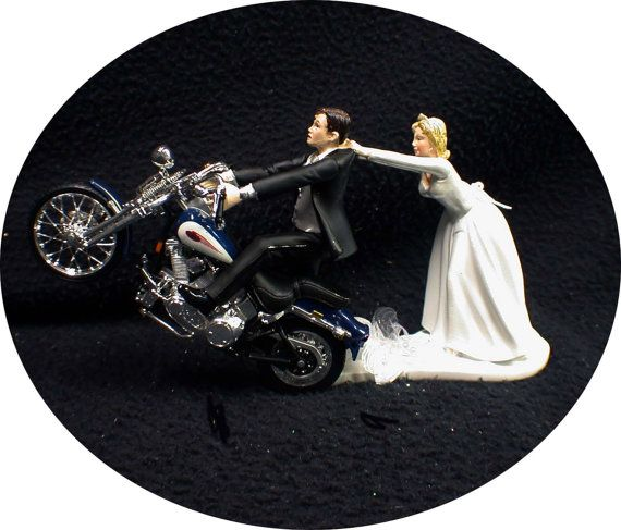 Motorcycle Wedding Cake Topper W Sexy Blue Harley Davidson Funny