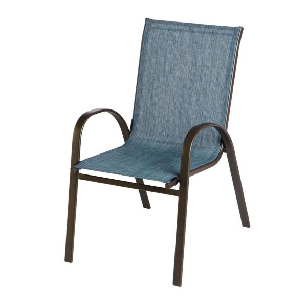 Hampton Bay Mix And Match Stackable Brown Steel Sling Outdoor Patio Dining Chair In Denim Fcs00015 In 2020 Patio Dining Chairs Wooden Patio Chairs Lounge Chair Outdoor