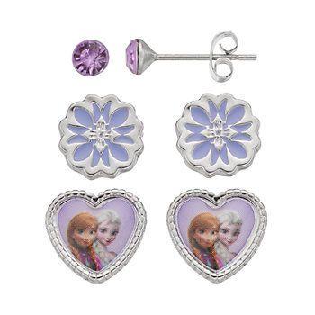 Disneys Frozen Anna Elsa Kids Stud Earring Jewelry Box Set