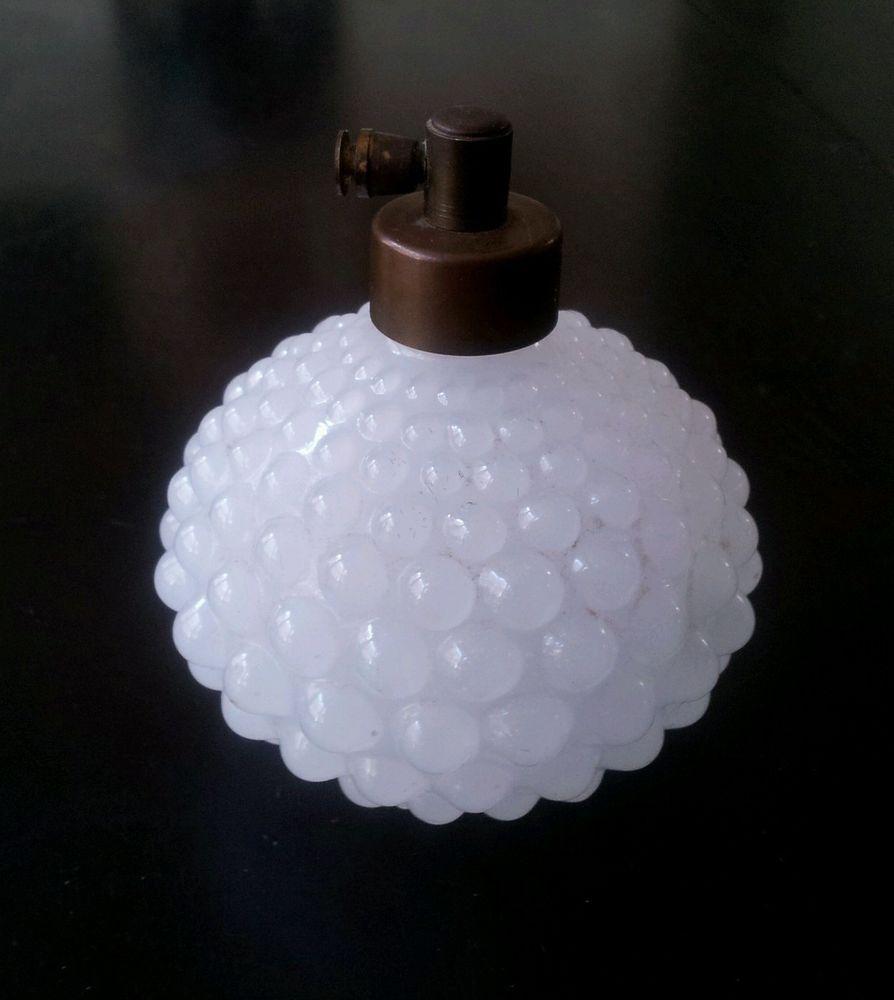 Vintage White Milk Glass Hobnail Perfume Bottle Made in Japan