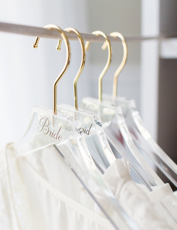 Wedding Hanger Clear Acrylic Personalized For Bride Bridesmaids Bridal Hangers For Wedding Dress Gold Hanger Modern Clear Mrs Hanger Hcb340 Bridal Party Getting Ready Wedding Hangers Handmade Wedding