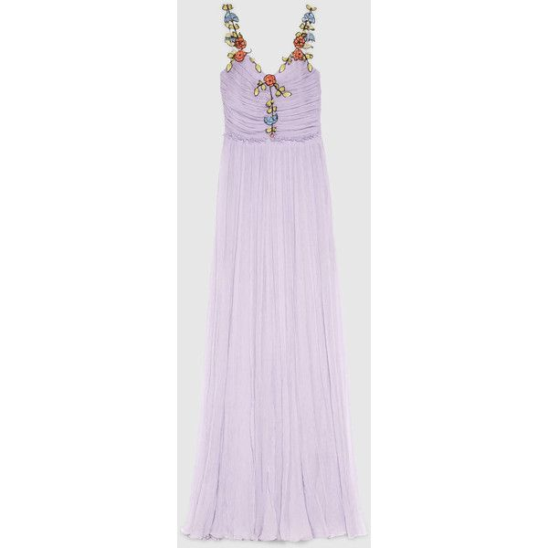 Gucci Silk Chiffon Embroidered Gown (22.115 BRL) ❤ liked on Polyvore featuring dresses, gowns, gown, ruched dress, purple evening dresses, purple gown, embroidered gown and embroidery dress
