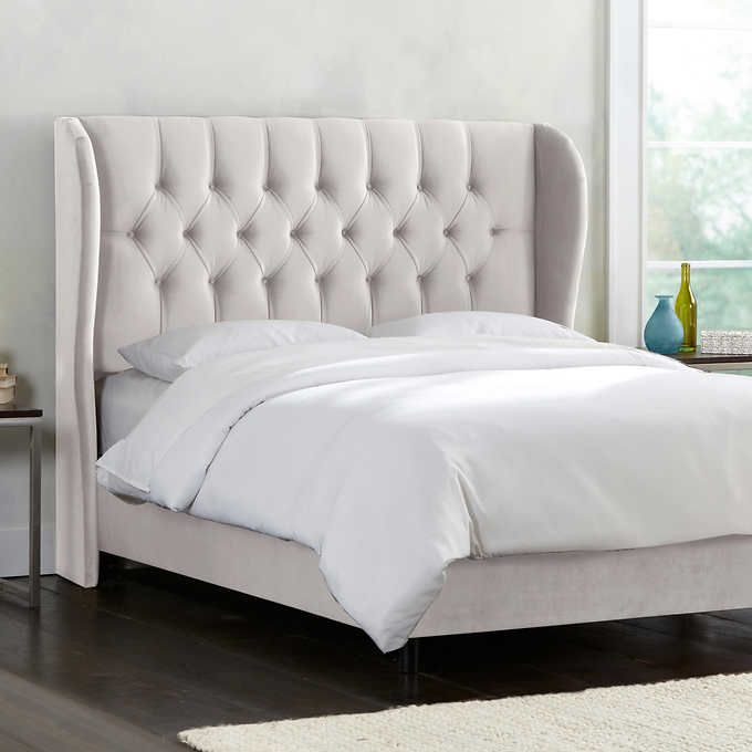 allegro tufted upholstered king bed in snow