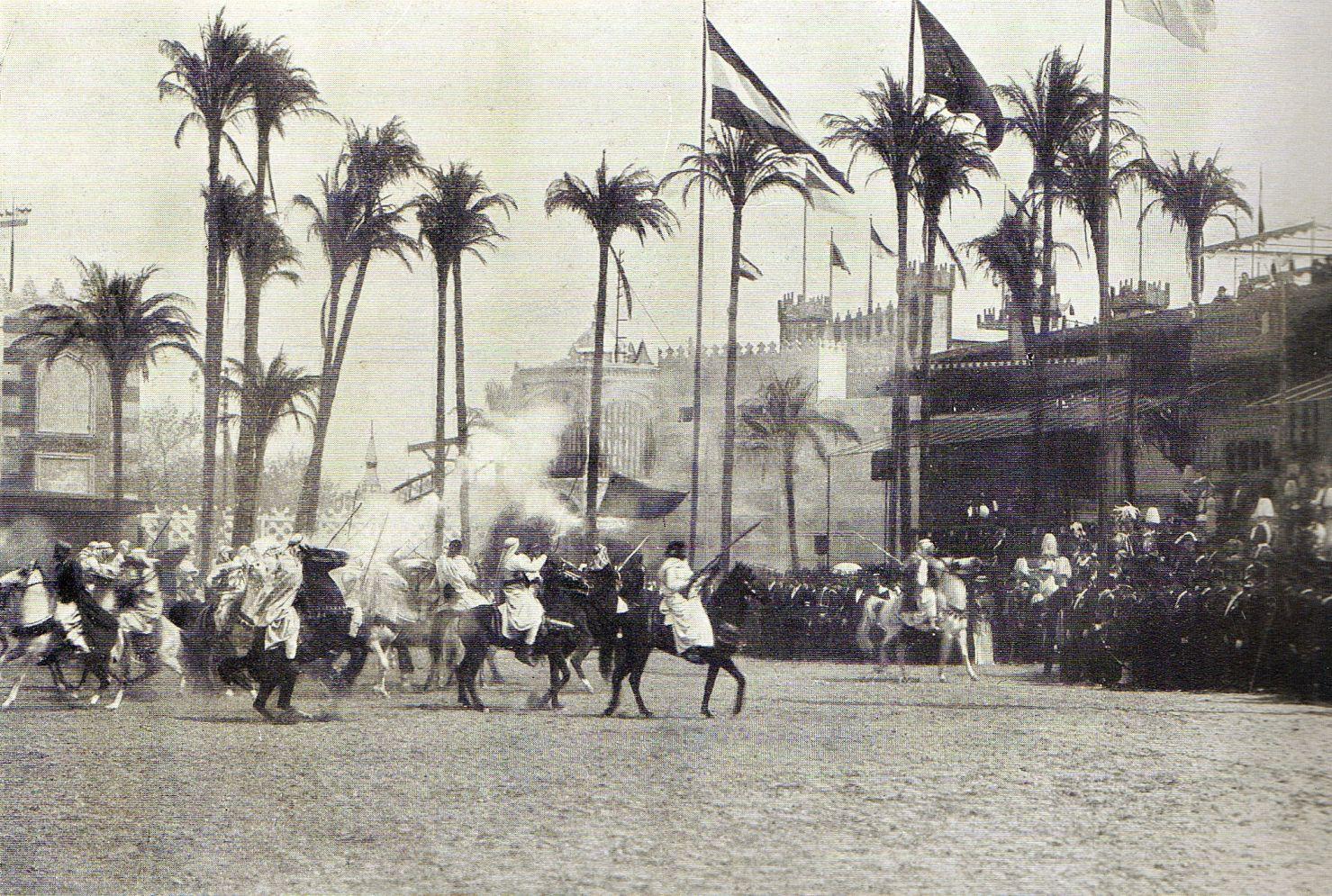 Berlin, Gewerbeausstellung 1896, Parade der Beduinen vor Kaiser Wilhelm II, Fotograf unbekannt
