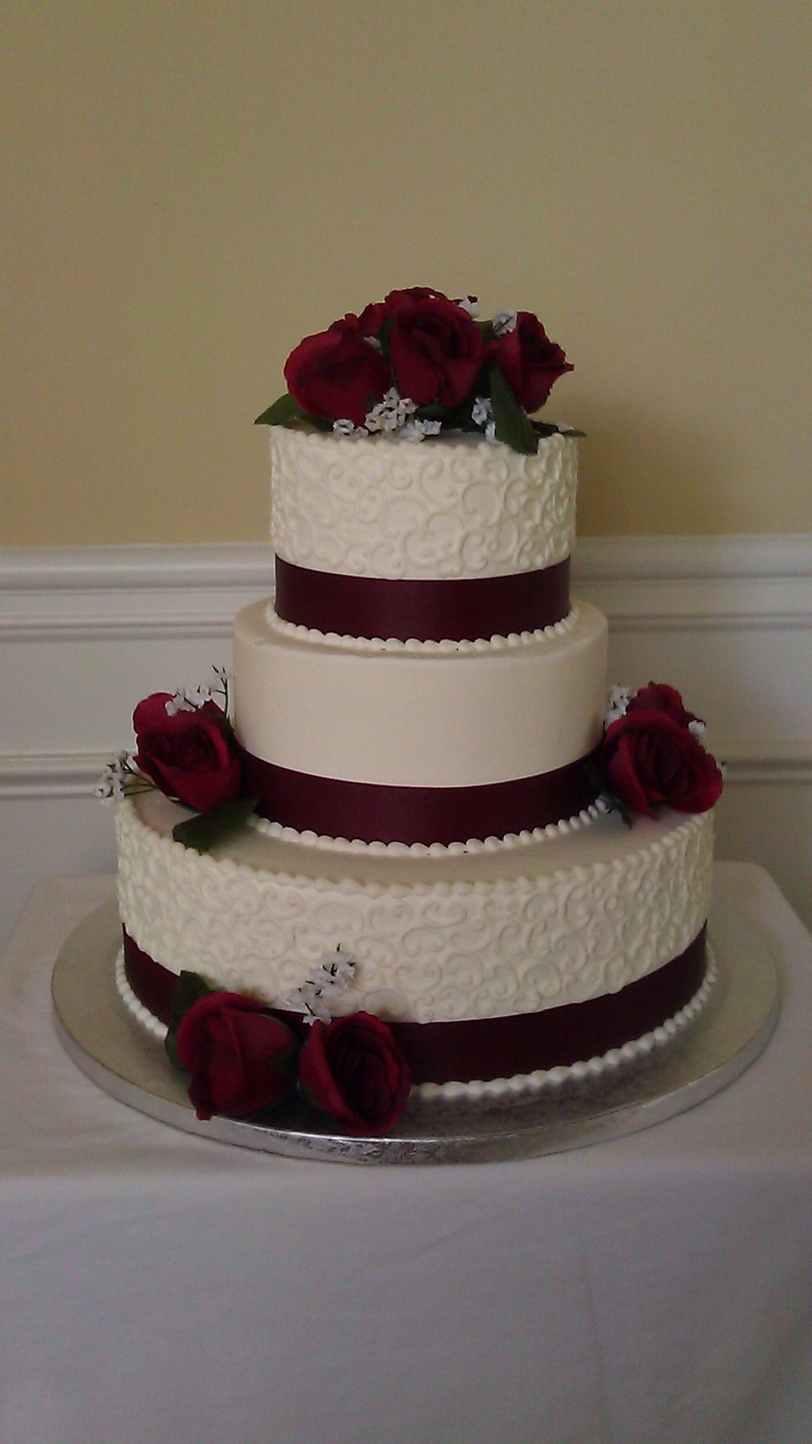 Elegant Burgundy And Soft White Buttercream Wedding Cake Very Pretty Only I Would Want It In Ivory With Maybe Dahlia Or Calla Lilies Instead Of Roses