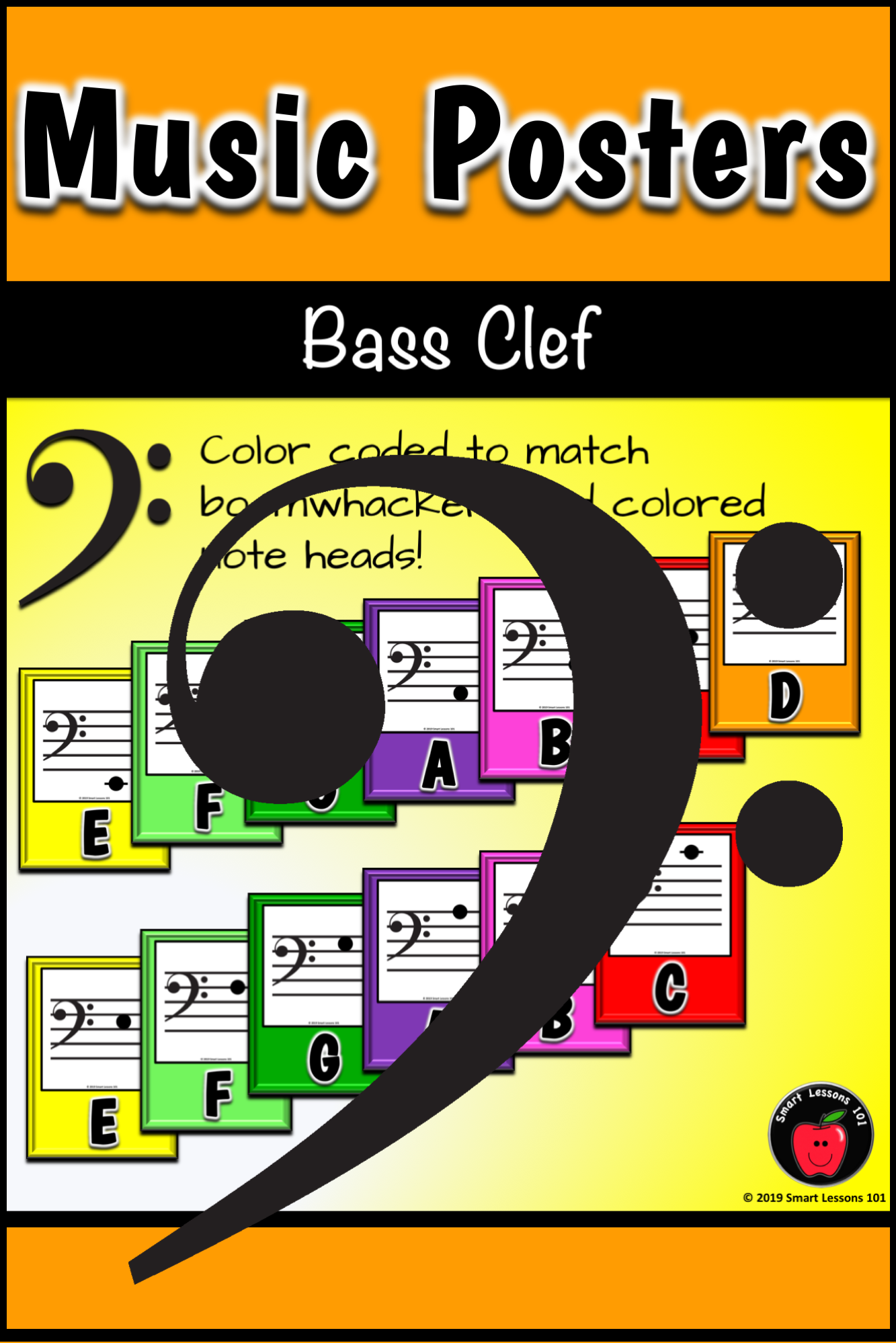 Music Note Posters Colorful Classroom Decor Music