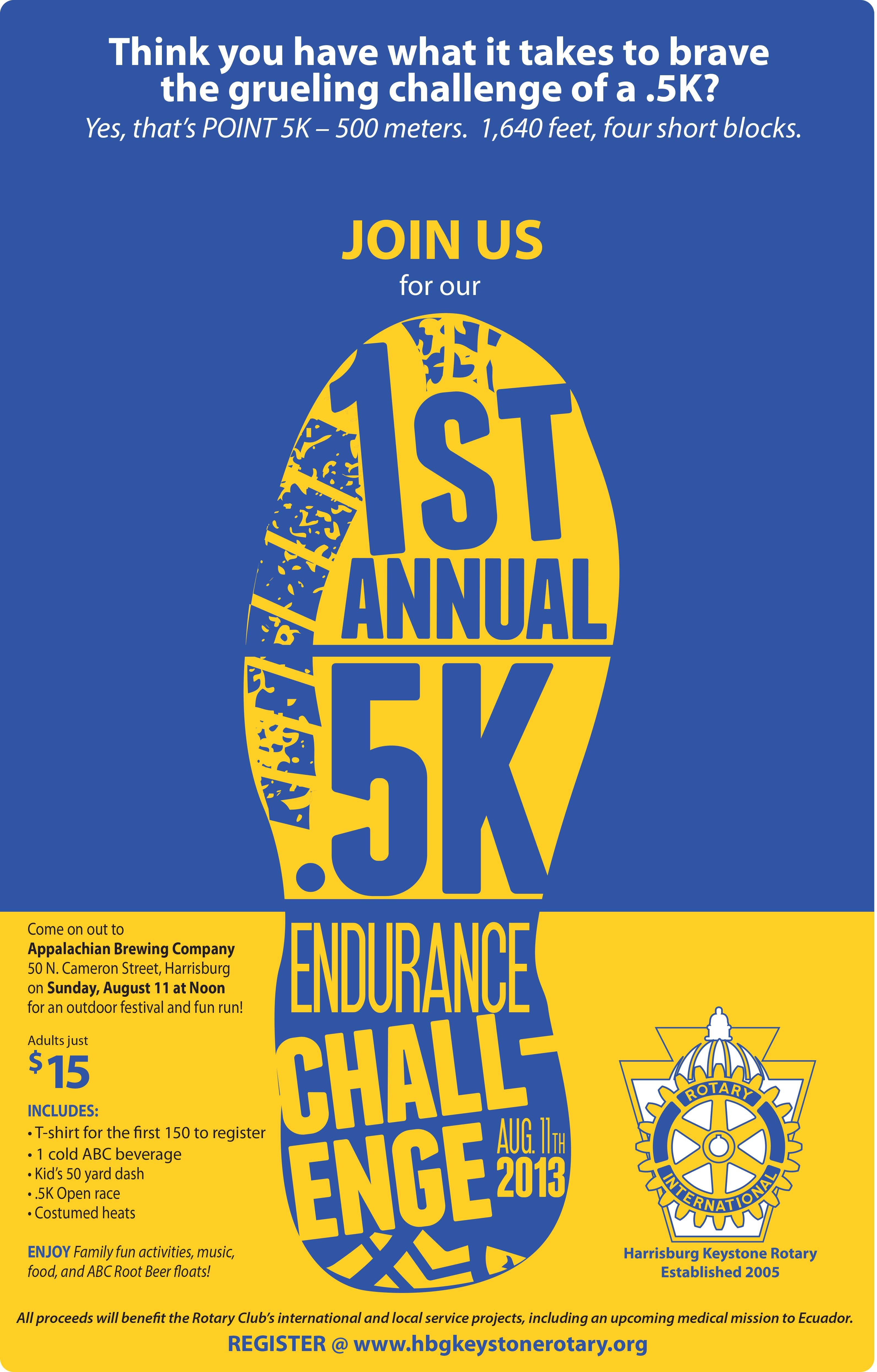 Rotary .5k Challenge Poster Viscul Creative 5k