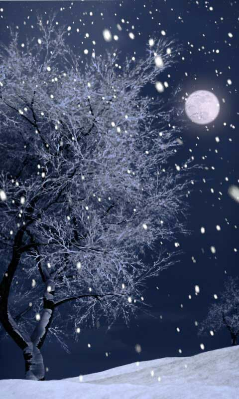 Snowing during a full moon.