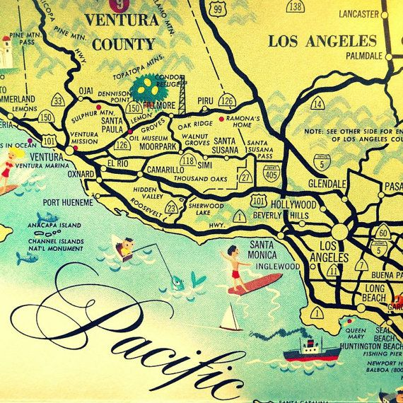 CALIFORNIA Map Art Print SANTA MONICA by VintageBeachMaps on ...