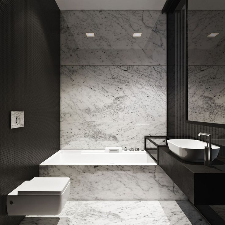 Mooie Zwarte Muur En Overloop Wastafel Over Bad  Bathrooms Fair Marble Bathroom Designs Decorating Inspiration