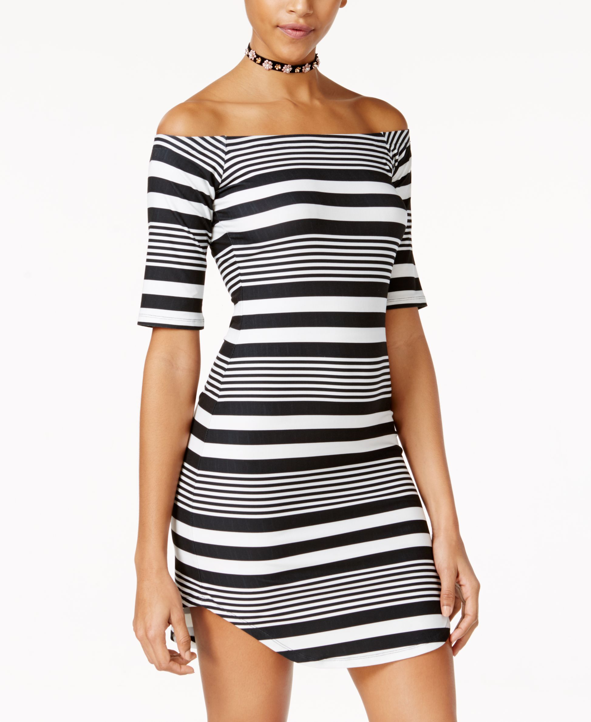 5f665d8a9966 Planet Gold Juniors  Striped Off-The-Shoulder Bodycon Dress