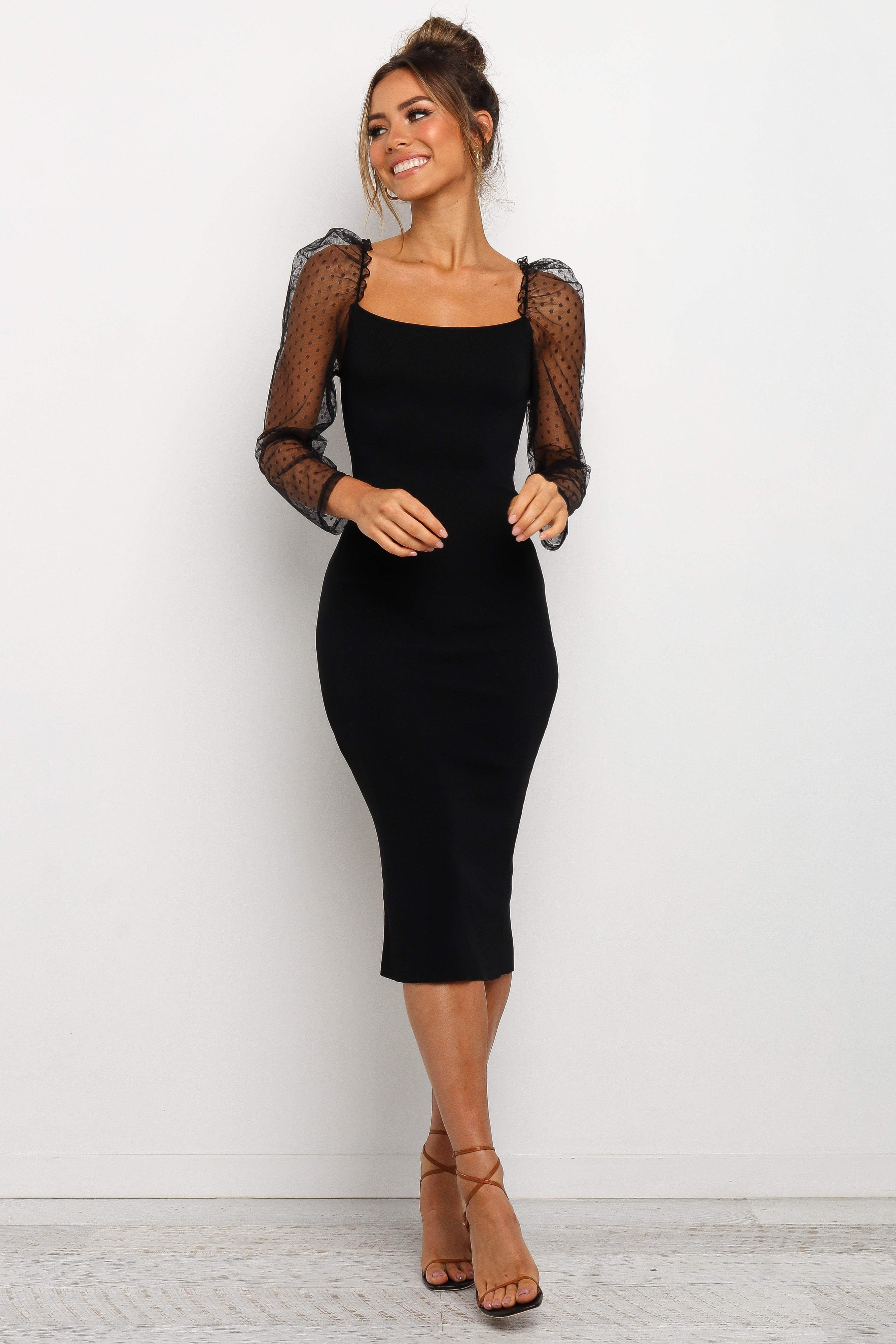 Klowie Dress Black Long Sleeve Bodycon Midi Dress Black Sheer Sleeve Dress Black Dress [ 5338 x 3559 Pixel ]