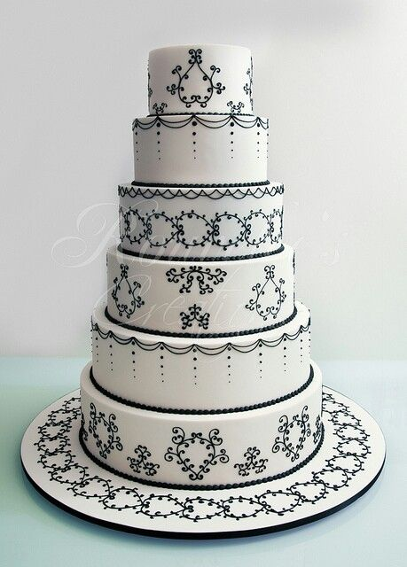 White wedding cske with black detailing