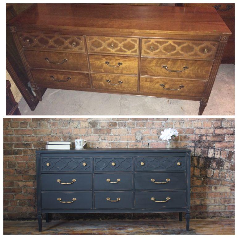 antique vintage rustic shabby chic distressed black dresser