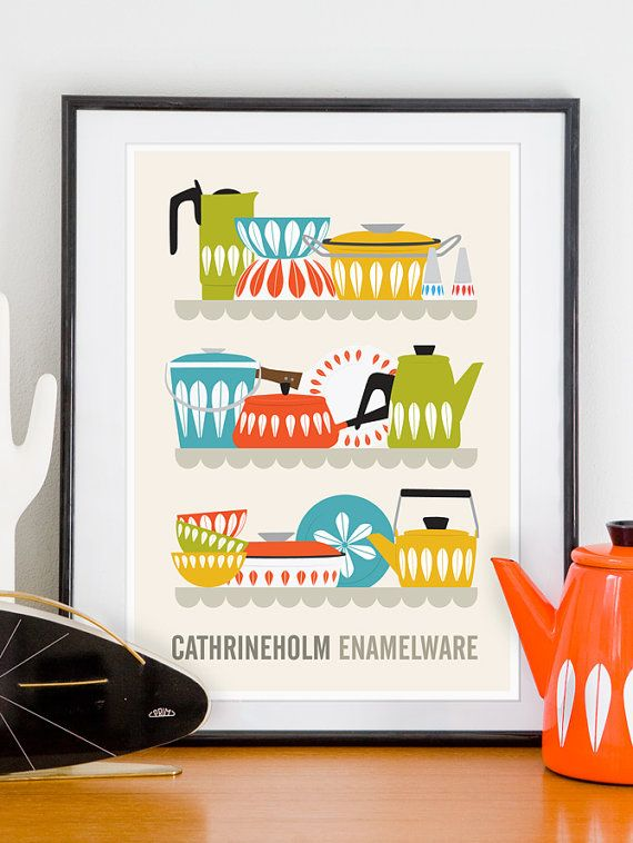 Cathrine Holm kitchen decor, mid century poster, retro kitchen ...