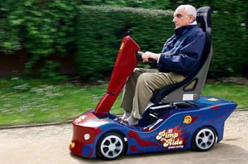 """Today is an """"I-wish-I-was-old-enough-to-not-feel-stupid-in-a-power-chair"""" kind of day.  If I ever get there for real I'm going to pimp my ride.  (PS.  I went to Disneyland recently and had to use that dreaded """"mobility aid"""")"""