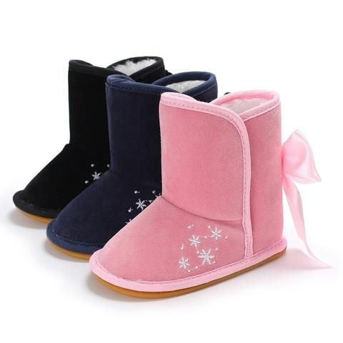 ecb72d5d98b Raise Young Winter Plus Velvet Warm Baby Girl Boots Non-slip Rubber Soles  Embroidery Toddler Girl Shoes Newborn Infant Booties
