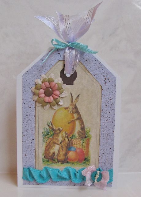 This is just one of several cute Easter cards that I made using FREE vintage printables found at www.EweNmePrintables.com