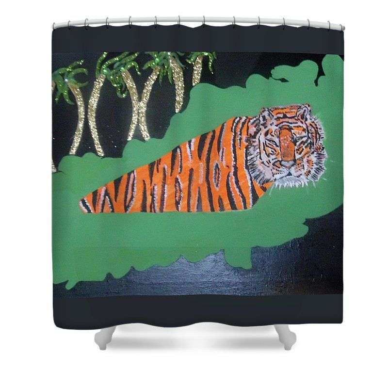 Tiger Shower Curtain featuring the painting Tiger On An Island by Nicole Burrell