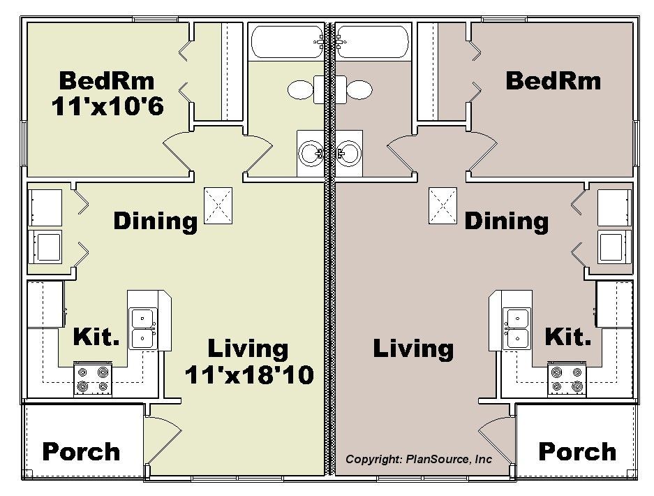 Duplex Plan J0204 12d Plansource Inc Small Apartment Building Plans Duplex Floor Plans Duplex Plans
