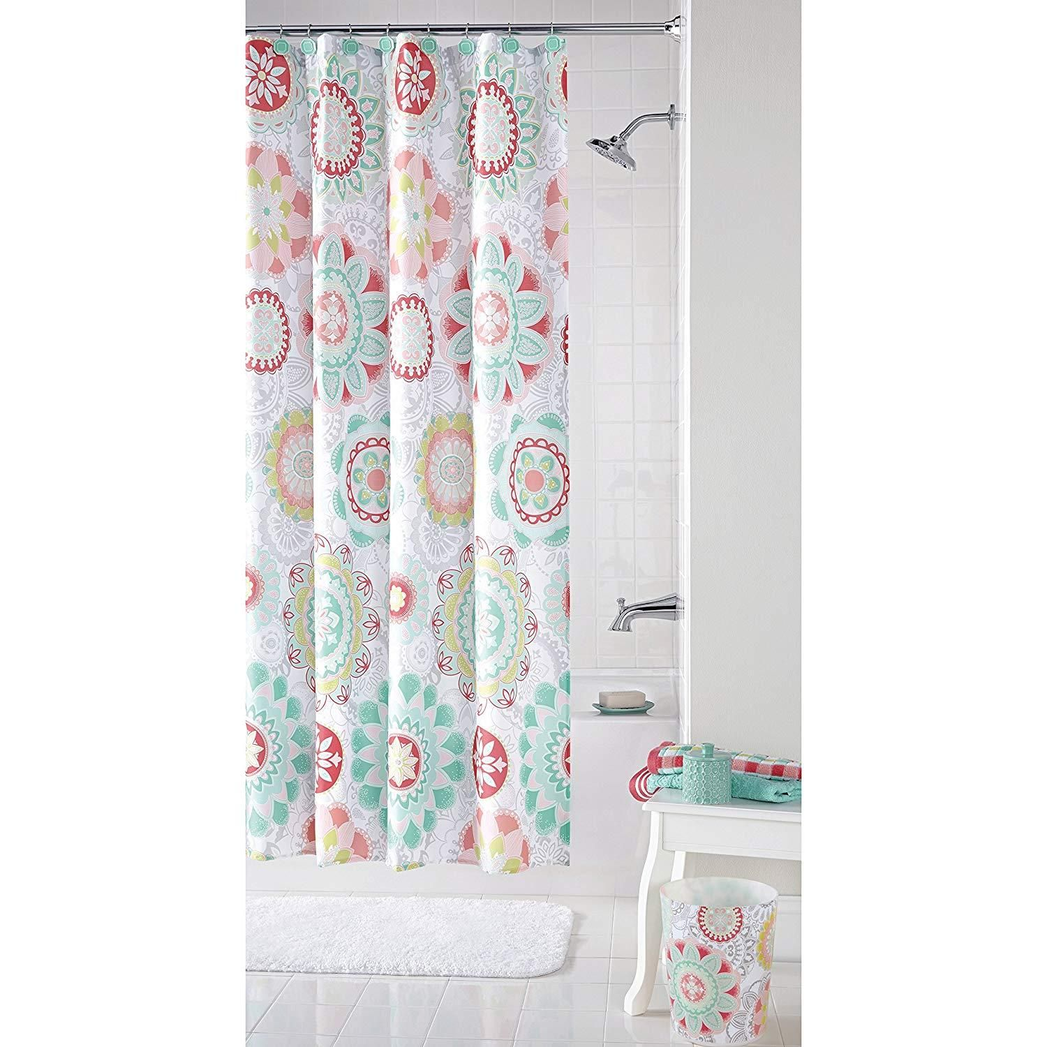 Mint Red Groovy Medallion Shower Curtain 70x72 Inch Green Floral