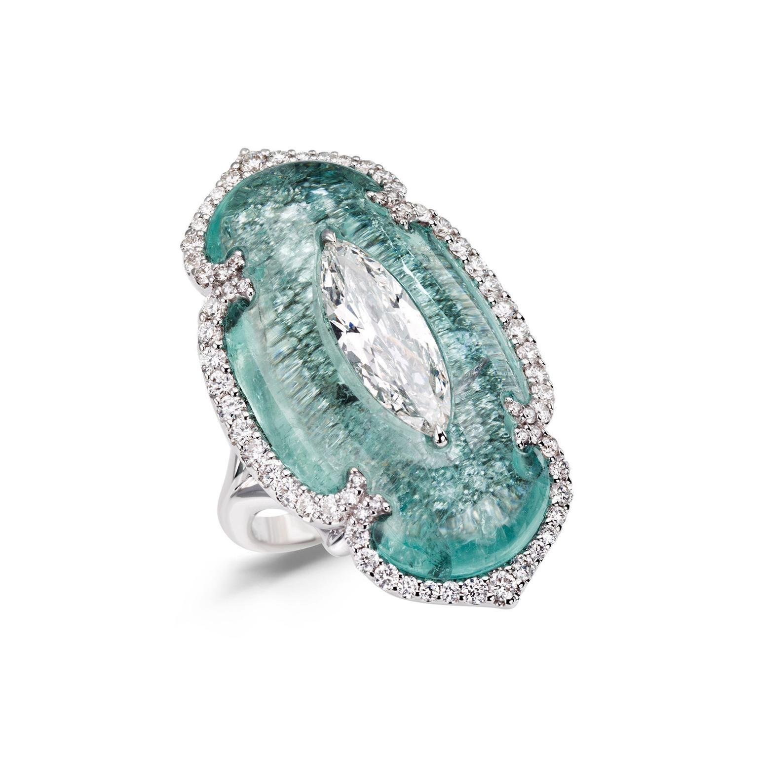 Boghossian Art of Inlay Paraiba tourmaline and diamond high jewellery ring. http://www.thejewelleryeditor.com/jewellery/article/boghossians-daring-creations-are-perfect-reason-visit-masterpiece/ #jewelry