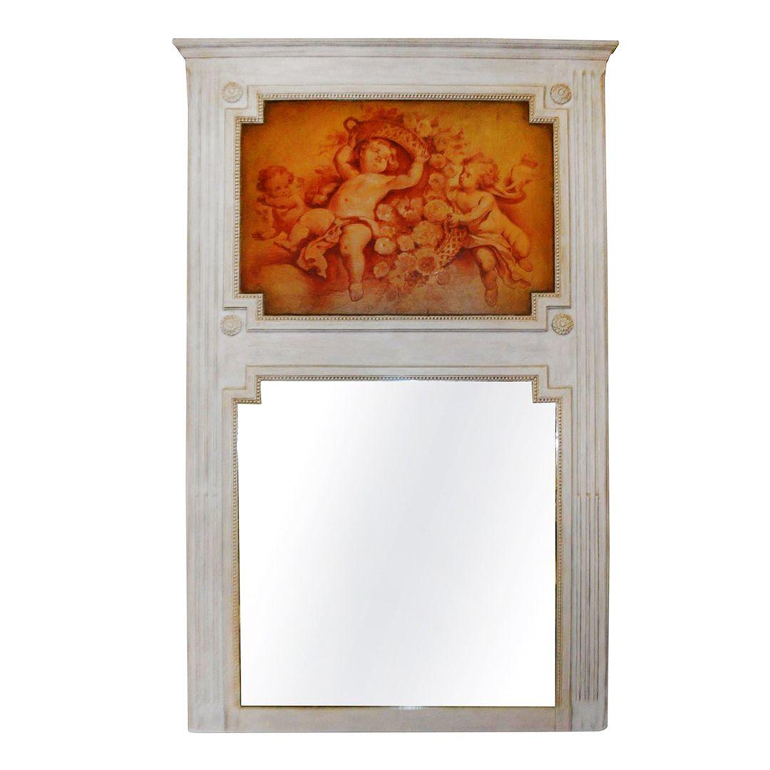 Louis XVI Style Painted Trumeau Mirror
