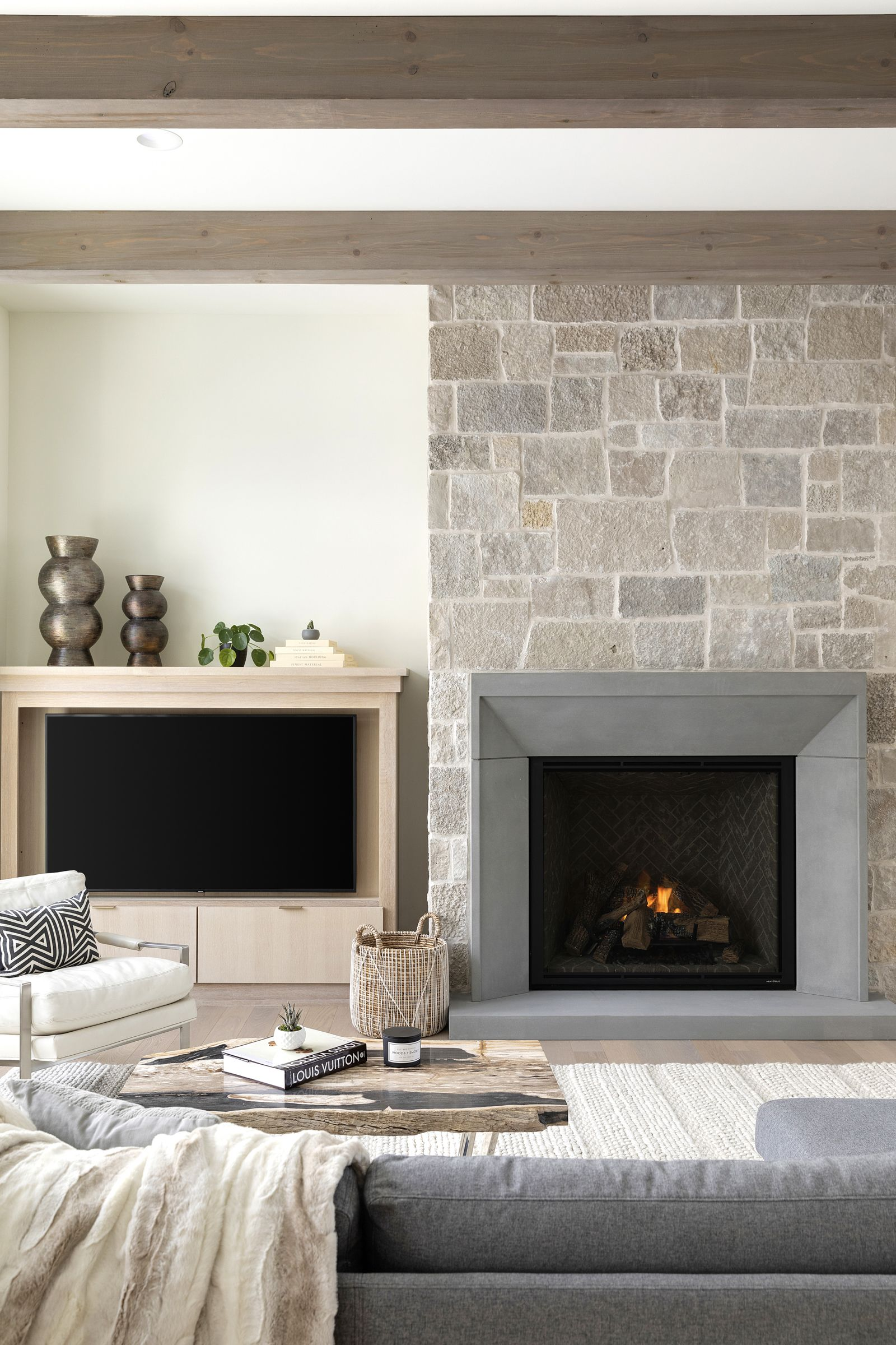 Great Room Transitional Timeless In 2020 Wood Fireplace Surrounds Home Fireplace Slate Fireplace Surround