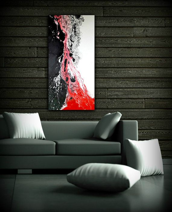 Blanc Noir Et Rouge Peinture 24 X 48 Peinture Abstraite Etsy Large Abstract Wall Art Large Canvas Wall Art Black And White Painting