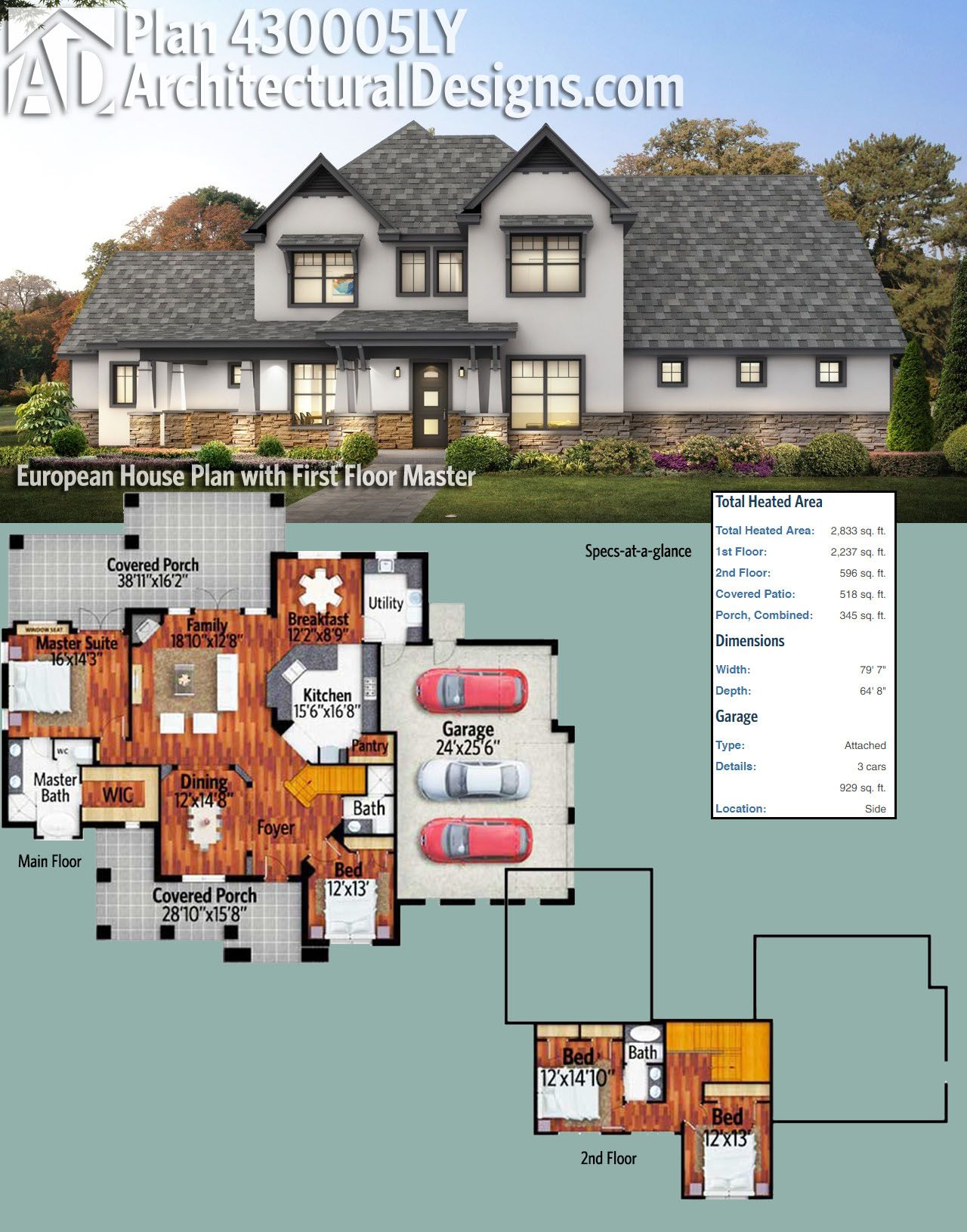 Plan 430005ly European House Plan With First Floor Master House Plans Craftsman Bungalow House Plans European House