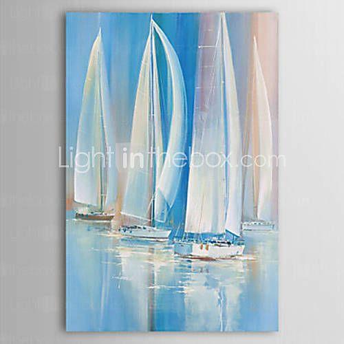 Peint la main paysage format vertical classique moderne for Peinture interieur bateau