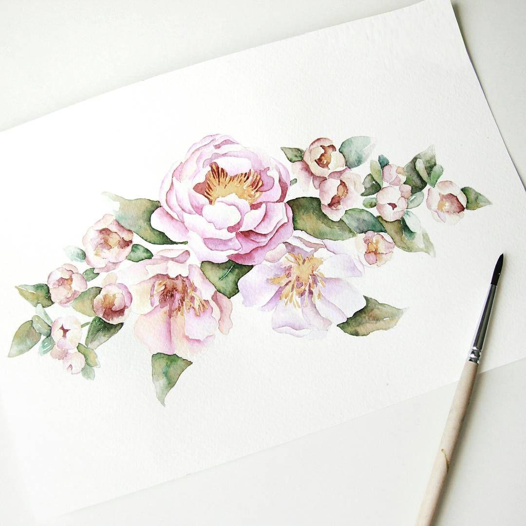 Татьяниным, цветы акварель открытка