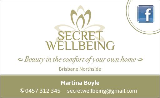 secret wellbeing business card