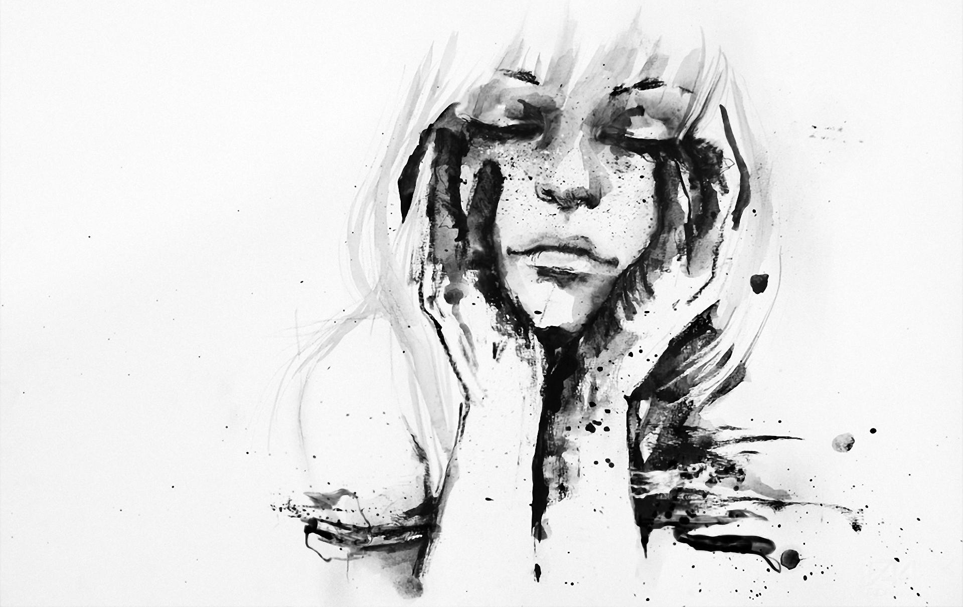 Черно белый рисунок красками