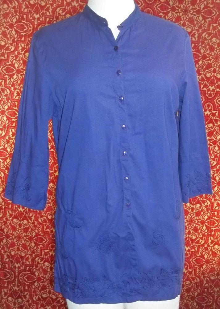 NY JEANS purple cotton 3/4 sleeve bohemian tunic blouse L (T180DE5F) #NYJeans #Tunic #Casual
